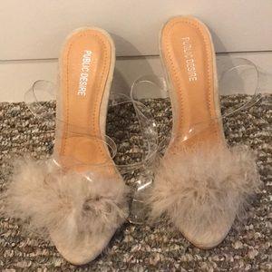 public desire nude fluffy-toed heels